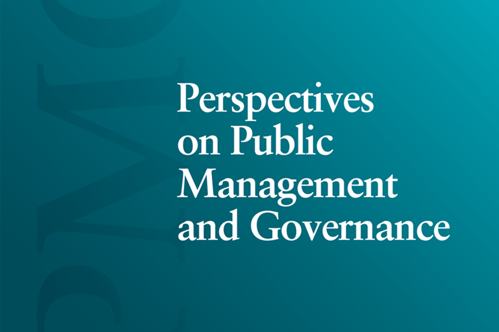 Perspectives on Public Management and Governance