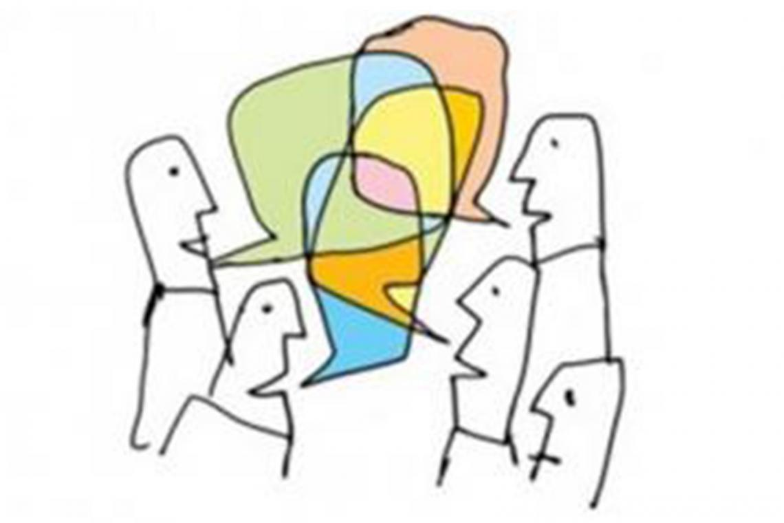 Cartoon of people having a discussion